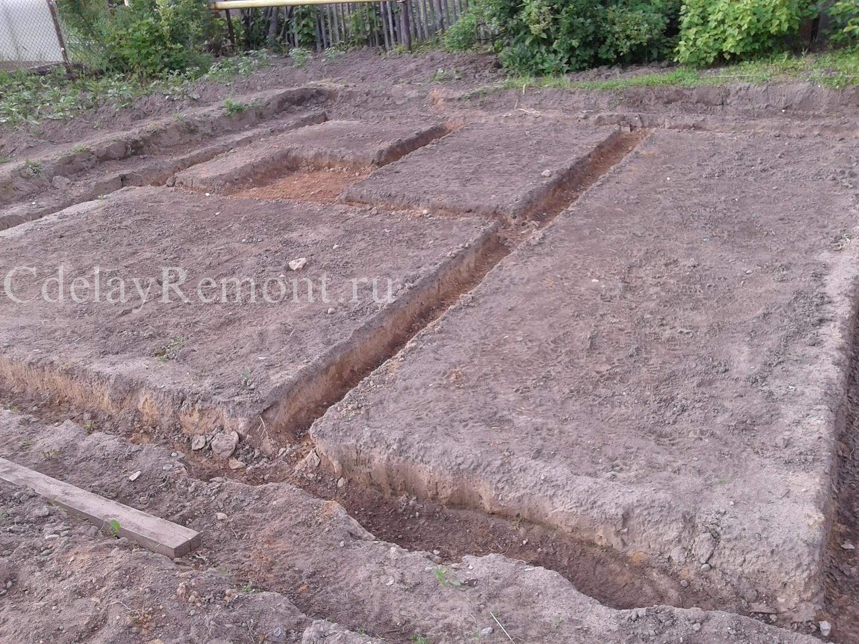 Готовые траншеи для песчаной подушки фундамента