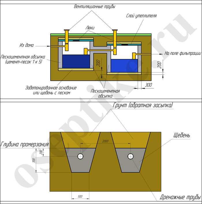 Схема септика и дренажного поля