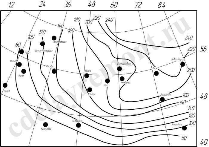 Схема для определения глубины промерзания грунта