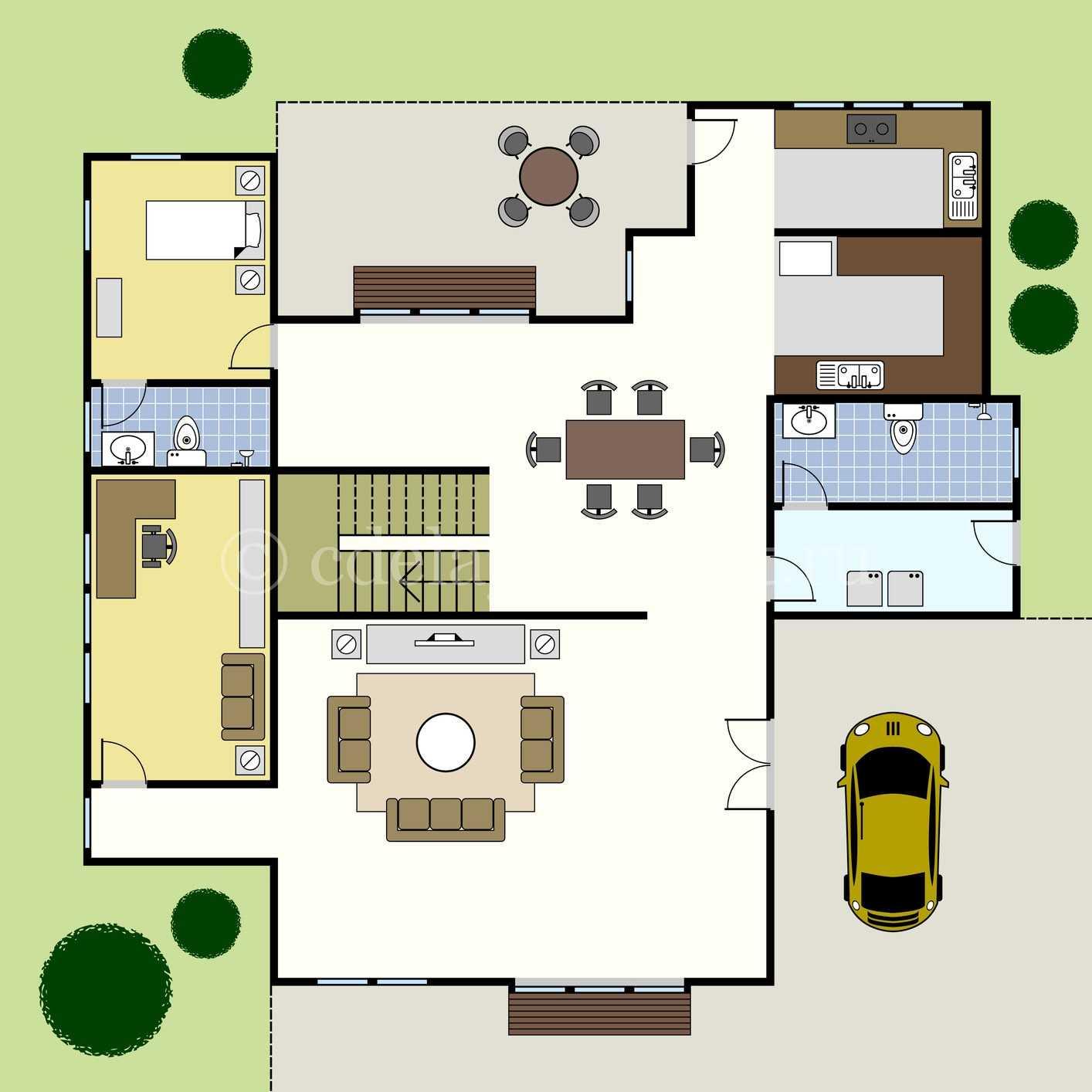 Планировка первого этажа дорогого дома
