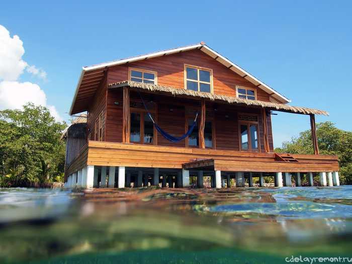 Дом из профилированного бруса на берегу озера (фото)