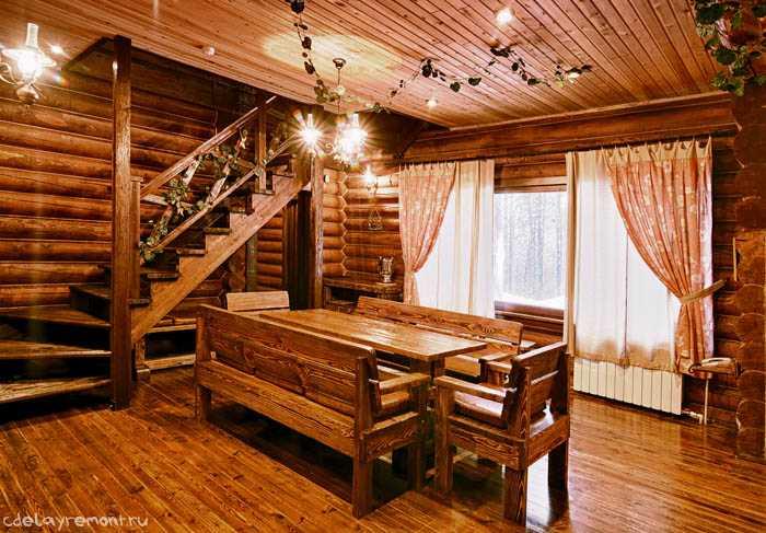 Дизайн интерьера дома из бруса (фото)