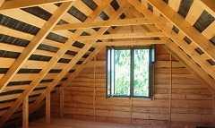 Крыша в доме из бруса