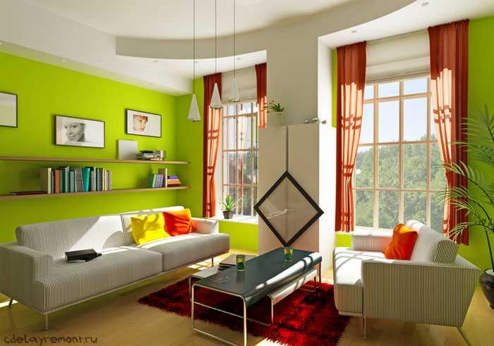 """Современное """"живое"""" оформление гостиной"""