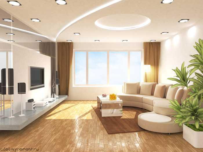 Стильное решение для большой гостиной