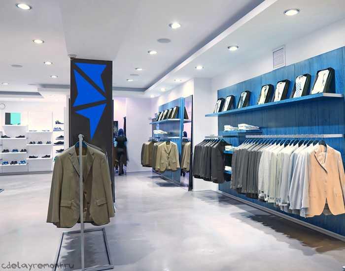 Дизайн магазина одежды в спокойных тонах