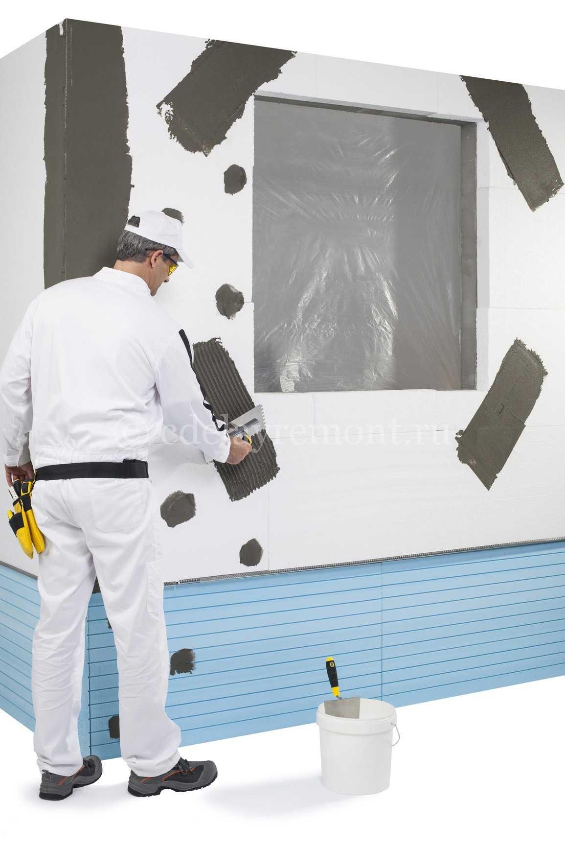 Оштукатуривание стены, утепленной пенопластом