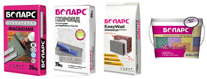 Bolars: Shtukaturka fasadnaia, Koroed, EasyWall, Mineral