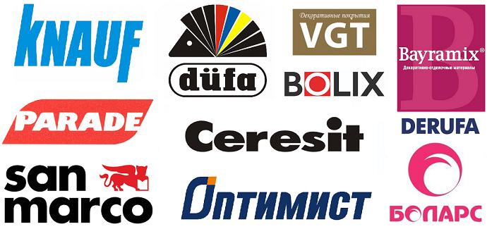 Obzor 11 proizvoditelei dekorativnykh shtukaturok: Knauf, VGT, Ceresit, Dufa, Bolix, Parade, San Marco, Derufa, Bolars, Optimist