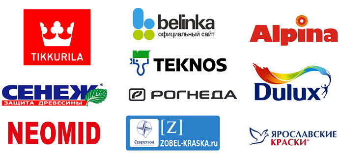 Obzor krasok po derevu: Belinka, Tikkurila, Alpina, Neomid, Snezh, Teknos, Rogneda, Zobel, Dulux, Iaroslavskie kraski