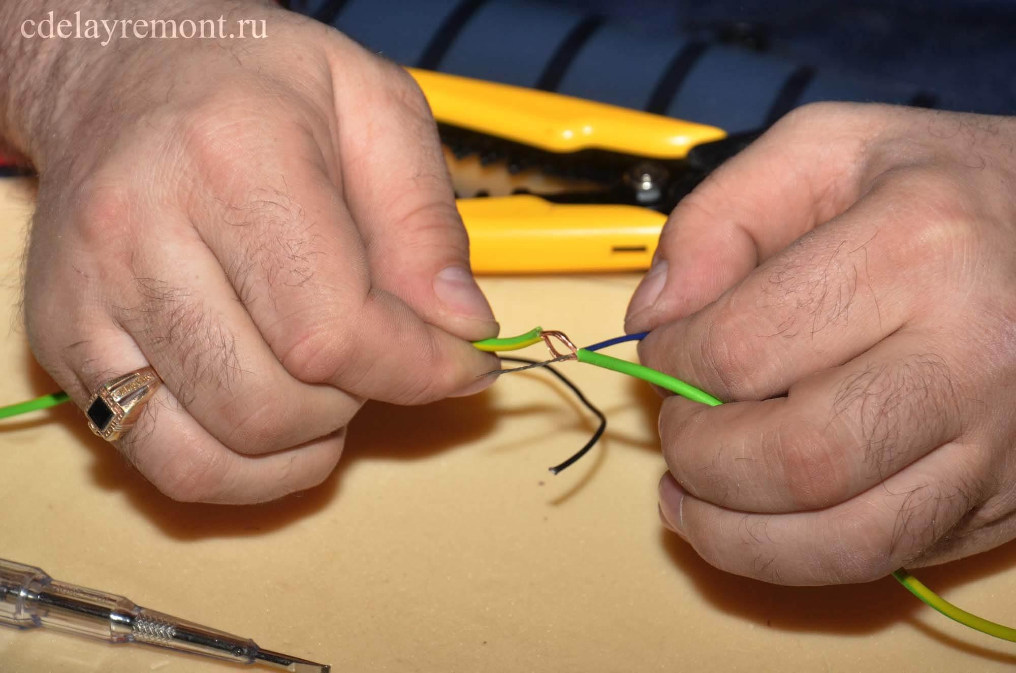 Крепление провода при установке ПЛЭН