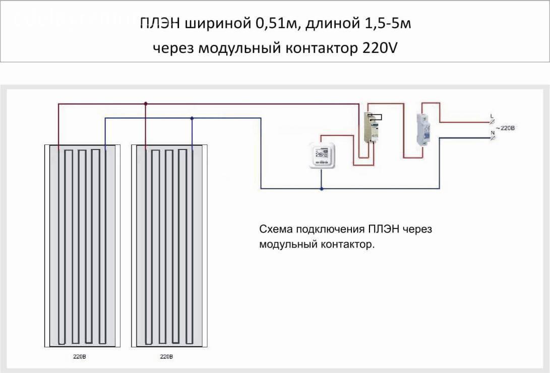 Схема подключения ПЛЭН шириной 0,51 м, длиной 1,5-5 м