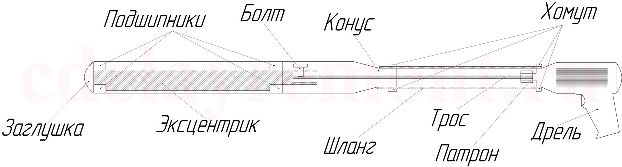 Насадка на дрель - вибратор для бетона