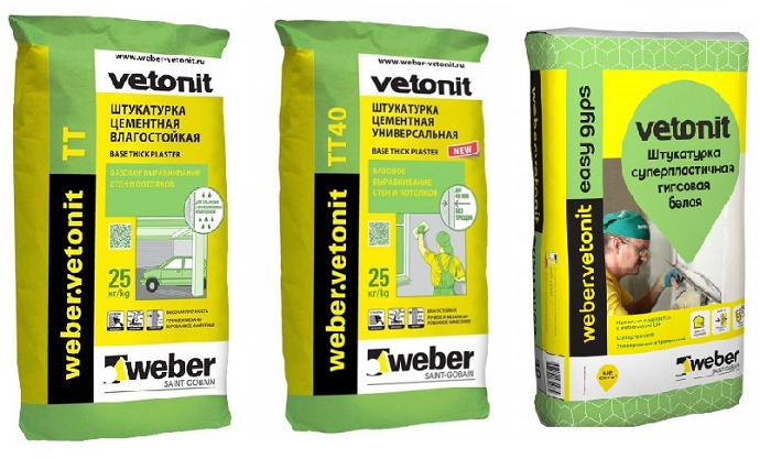 Weber-Vetonit: TT, TT40, Easy Gips